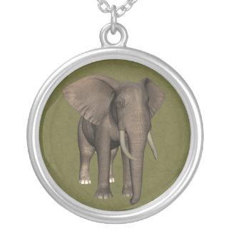 Elephant Round Pendant Necklace