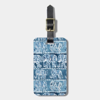 ELEPHANT SAFARI Boho Tribal Indigo CUSTOMIZABLE Luggage Tag