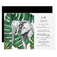 Elephant Safari Wedding Invitations Watercolor