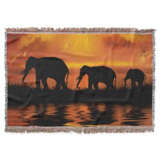 Elephant Safari Woven Throw Blanket