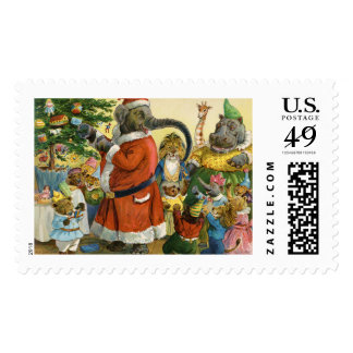 Elephant Santa Celebrates Christmas in Animal Land Stamps