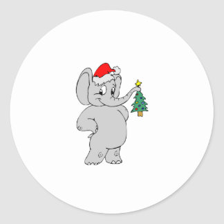 Elephant (Santa Hat) Round Sticker