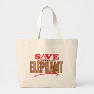 Elephant Save Large Tote Bag