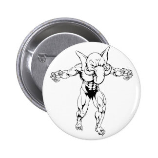 Elephant scary sports mascot 2 inch round button