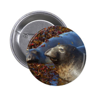 Elephant Seals Big Sur California Painted Button