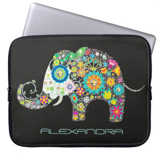 Elephant Shape Colorful Retro Flowers Laptop Sleeve