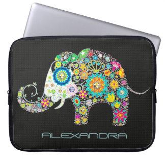 Elephant Shape Colorful Retro Flowers Laptop Computer Sleeve