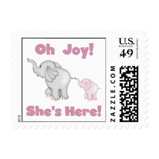 Elephant She's Here Baby Postage Stamps