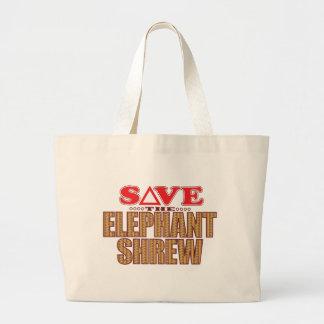 Elephant Shrew Save Large Tote Bag