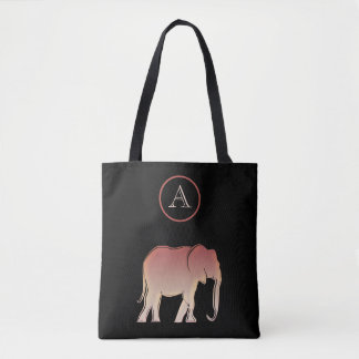 Elephant Silhouette , Black and Rose Gold Tote Bag