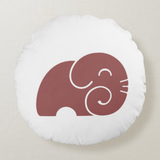 Elephant Silhouette Custom Color Round Pillow