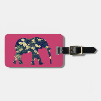 Elephant Silhouette Daisies Burgundy Girly Bag Tag