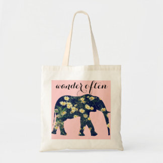 Elephant Silhouette Daisy Classy Girly Pink Tote Bag