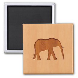 Elephant silhouette engraved on wood design magnet