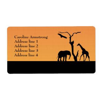 Elephant silhouette sunset custom address labels