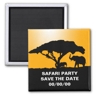 Elephant Silhouettes at Sunset Save the Date Magnet