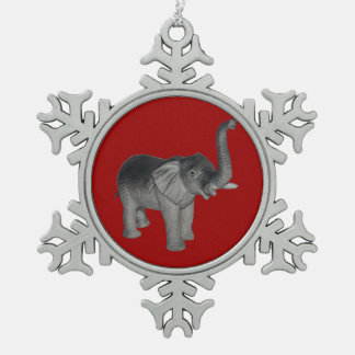 Elephant Snowflake Pewter Christmas Ornament