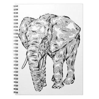 """Elephant Spirit"" v.1 - surreal totem animal Spiral Notebooks"