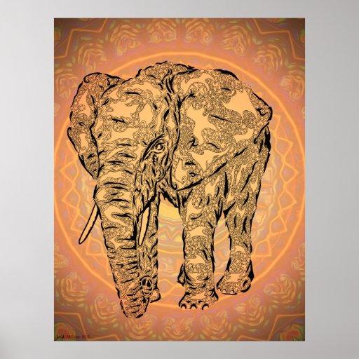 """Elephant Spirit"" - version2, surreal totem animal Print"