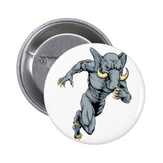 Elephant sports mascot running 2 inch round button