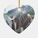 Elephant spraying water ceramic heart decoration