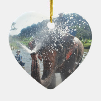 Elephant spraying water Double-Sided heart ceramic christmas ornament