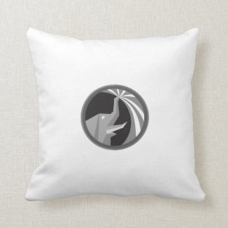 Elephant Spraying Water Mist Circle Retro Throw Pillow