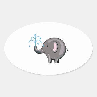 ELEPHANT SPRAYING WATER OVAL STICKER