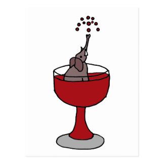 Elephant Spraying Wine Sitting in Wine Glass Postcard