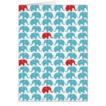 elephant square pattern card