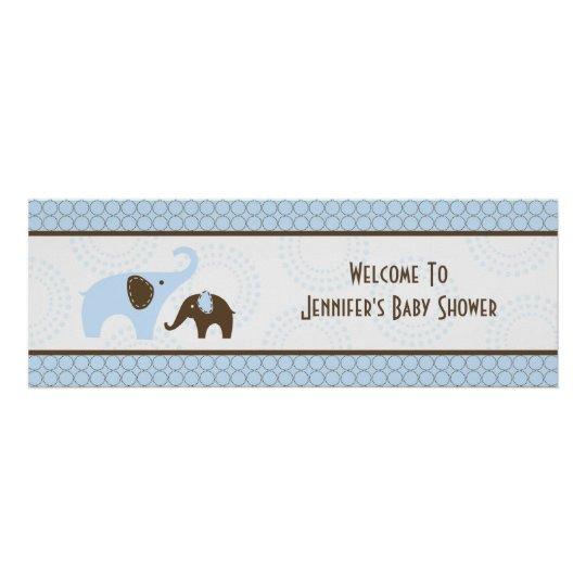 Elephant Stitch Blue Baby Shower Banner Poster