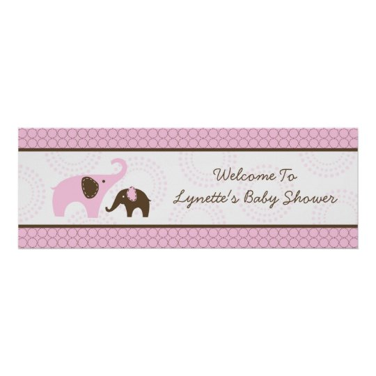 Elephant Stitch Pink Baby Shower Banner Poster