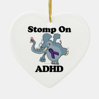 Elephant Stomp On ADHD Double-Sided Heart Ceramic Christmas Ornament