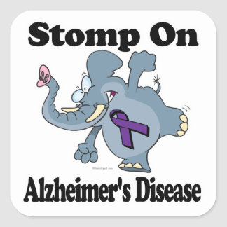 Elephant Stomp On Alzheimers Disease Square Sticker