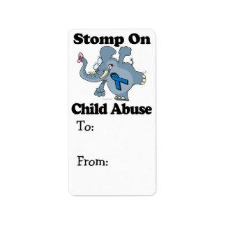 Elephant Stomp On Child Abuse Address Label