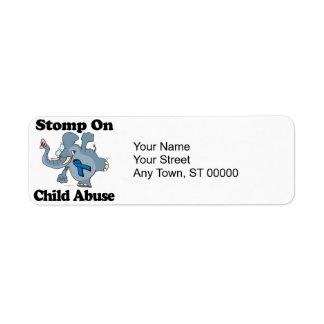 Elephant Stomp On Child Abuse Return Address Label