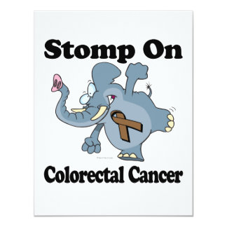Elephant Stomp On Colorectal Cancer 4.25x5.5 Paper Invitation Card