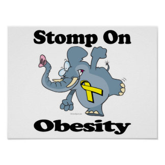 Elephant Stomp On Obesity Posters