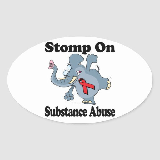 Elephant Stomp On Substance Abuse Oval Stickers