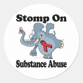 Elephant Stomp On Substance Abuse Round Sticker