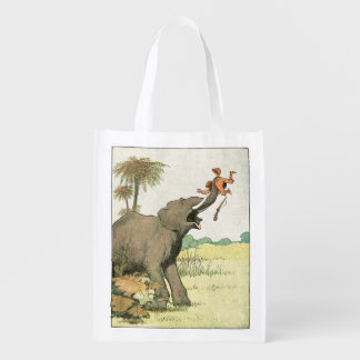 Elephant Story Book Drawing Reusable Grocery Bag