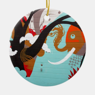 Elephant Street Art/Graffiti Ceramic Ornament