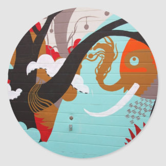 Elephant Street Art/Graffiti Classic Round Sticker