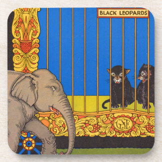 elephant strolling past the black leopards cage drink coaster
