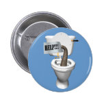 Elephant Stuck In Toilet 2 Inch Round Button