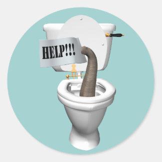Elephant Stuck In Toilet Classic Round Sticker