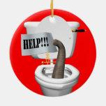 Elephant Stuck In Toilet Ornament