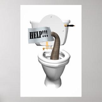 Elephant Stuck In Toilet Poster