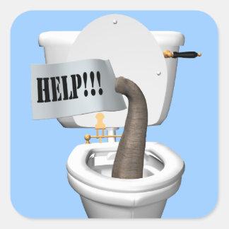 Elephant Stuck In Toilet Square Sticker