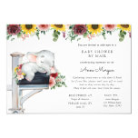Elephant Sunflower and Roses Baby Shower by Mail Invitation
